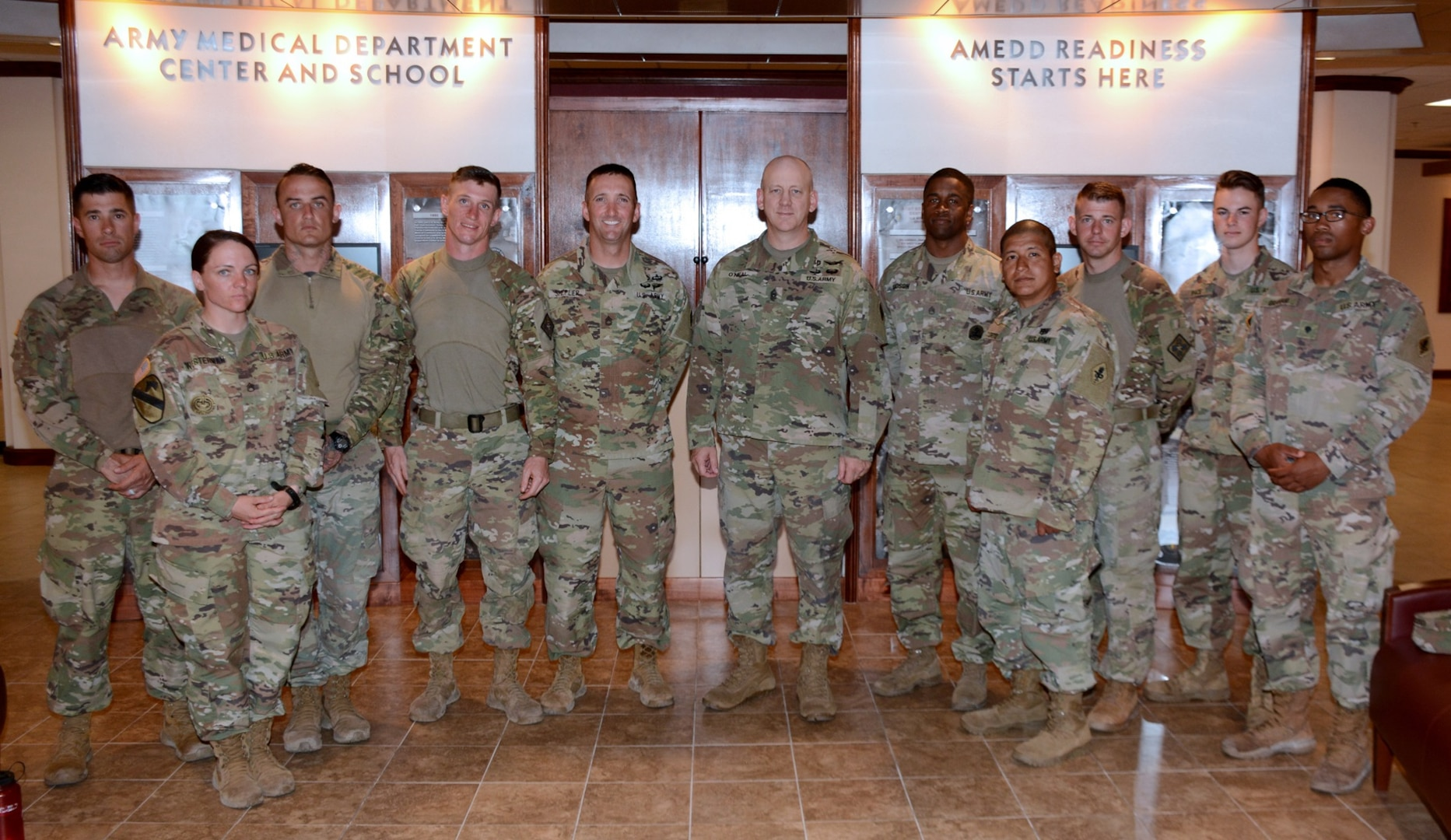 The competitors with Command Sgt. Maj. Buck O'Neal, U.S. Army Medical Department Center and School and Health Readiness Center of Excellence Command Sergeant Major.