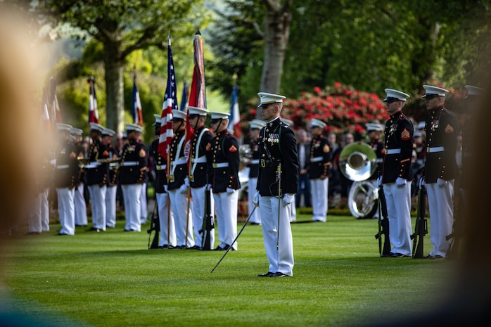 U.S. Marines with 5th Marine Regiment, 1st Marine Division, stand in formation during the Aisne-Marne Memorial Ceremony near Belleau, France, May 26, 2019. The ceremony commemorated the 101st anniversary of the Battle of Belleau Wood, which marked the first occasion in World War I for U.S. forces to operate on a large scale against the German Army.