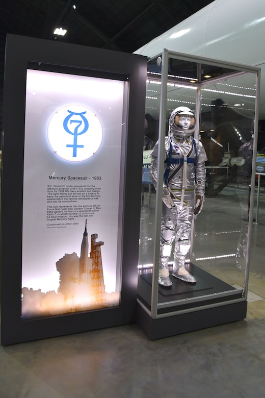 This space suit represents the one worn by U.S. Air Force Maj. (later Col.) Gordon Cooper in May 1963 aboard his Mercury craft called Faith 7, in which he flew 22 orbits in a 34-hour mission. This suit is a reproduction and is on display in the museum's fourth building.(U.S. Air Force photo by Ken LaRock)
