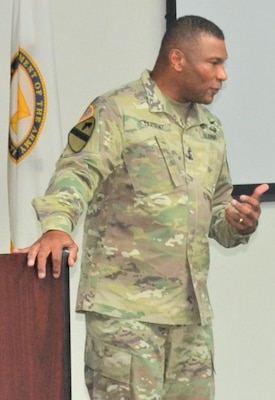 Maj. Gen. Patrick D. Sargent, the Health Readiness Center of Excellence commanding general, addresses attendees during the Strategic Medical Simulation Synchronization Summit hosted by HRCoE Directorate of Simulations, May 15-16.