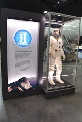 The suit on display represents the basic G4C for wear inside the Gemini spacecraft. This suit is a reproduction and is on display in the museum's fourth building. (U.S. Air Force photo by Ken LaRock)