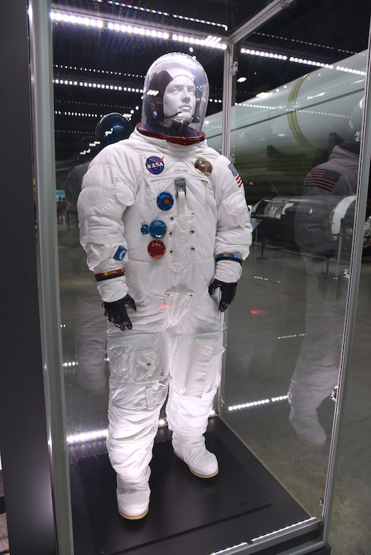 This suit represents the model A7L worn by U.S. Air Force Col. (later Maj. Gen.) Michael Collins in July 1969 on Apollo 11, the first moon landing mission. (U.S. Air Force photo by Ken LaRock)
