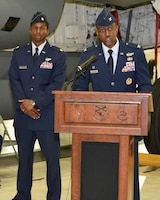 Col. Edwards Addresses Guest During Change of Command Ceremony