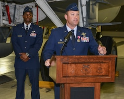 Lt. Col. Torczynski Addresses Guest During Change of Command Cer