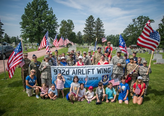 Reserve Citizen Airmen, from the 932nd Airlift Wing, are joined by family and friends to honor all fallen warriors during the Belleville Memorial Day Parade, May 27, 2019, Belleville, Illinois. (U.S. Air Force photo by Christopher Parr)