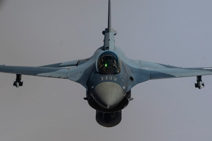An Iraqi Air Force F-16 Fighting Falcon conducts training over Iraq May 26, 2019. The Coalition Aviation Advisory and Training Team in partnership with the Office of Security Cooperation-Iraq, provides training, advising and assistance in addition to building partner capacity for Iraqi Army Aviation Command, Iraqi Air Defense Command and the Iraqi Air Force.