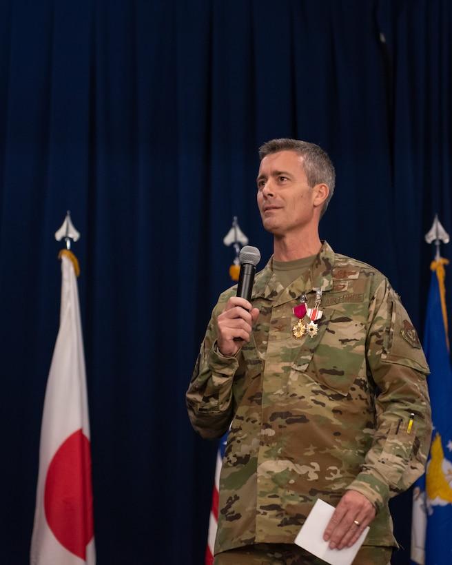 Team Kadena bids farewell to U.S. Air Force Col. Richard C. Tanner, 18th Wing vice commander, at Kadena Air Base, Japan, May 29, 2019.