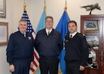 (left to right) Defense Logistics Agency Energy Commander Air Force Brig. Gen. Albert Miller, the Commander of the French Military's Joint Petroleum Service, Service des Essences des Armées, Maj. Gen. Jean-Charles Ferre and French SEA Lt. Col. Dominique Mattei met at the McNamara Headquarters Complex on Fort Belvoir, Virginia, May 15-16 to discuss ongoing and upcoming fuel support and ways to continue to build their partnership. Photo by Teodora Mocanu.