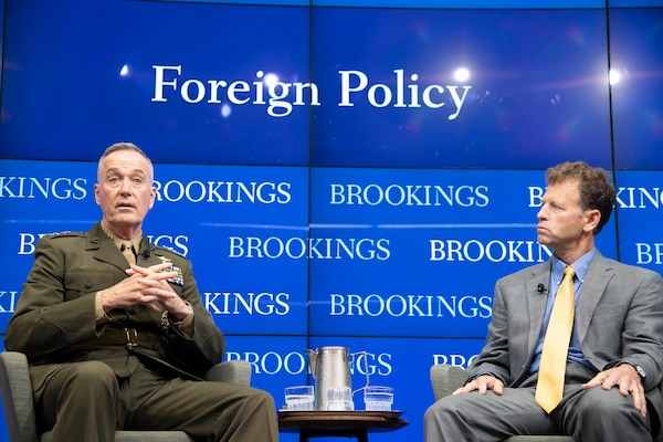 Marine Corps Gen. Joe Dunford, chairman of the Joint Chiefs of Staff, participates in a moderated discussion with Michael O'Hanlon, senior fellow at the Brookings Institution, in the Falk Auditorium at the Brookings Institution in Washington, D.C., May 29, 2019. Brookings hosted General Dunford for a discussion on the national security landscape facing America, the state of the nation's armed forces, and key defense choices for the future.