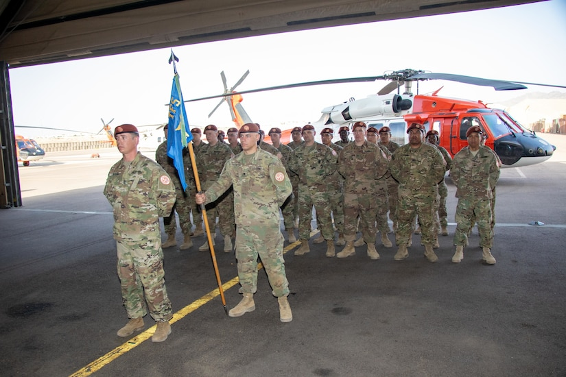 Soldiers of Aviation company (AVCO), Task Force Sinai, stands in formation for their change of command ceremony at South Camp, Egypt, May 23, 2019. AVCO maintains eight UH-60 Blackhawk helicopters which are painted with the Multinational Force & Observers (MFO) colors. The mission of the MFO is to supervise the implementation of the security provisions of the Egyptian-Israeli Treaty of Peace and employ best efforts to prevent any violation of its terms.