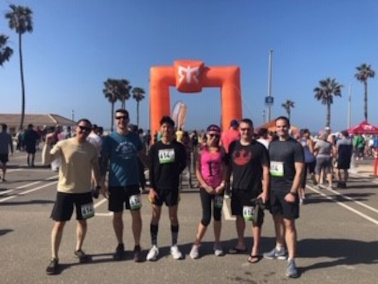 Six team members, affiliated with Vandenberg Air Force Base, participated in the So Cal Ragnar Relay Ultramarathon, April 12 through 13, 2019, in Huntington Beach, Calif. Each member of the six-man team ran anywhere from 26 to 36 miles of the Ragnar Relay to complete a cumulative 200 miles. (Courtesy photo)