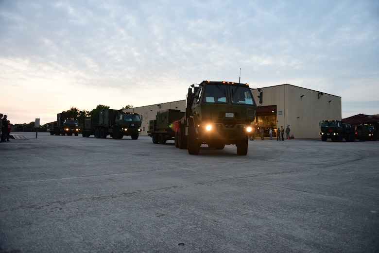 606th Air Control Squadron convoy vehicles depart for Croatia at Aviano Air Base, Italy, May 23, 2019. The 606th ACS is  participating in Astral Knight 2019, a joint, multinational exercise designed to test integrated air and missile defense capabilities. (U.S. Air Force photo by Staff Sgt. Tory Cusimano