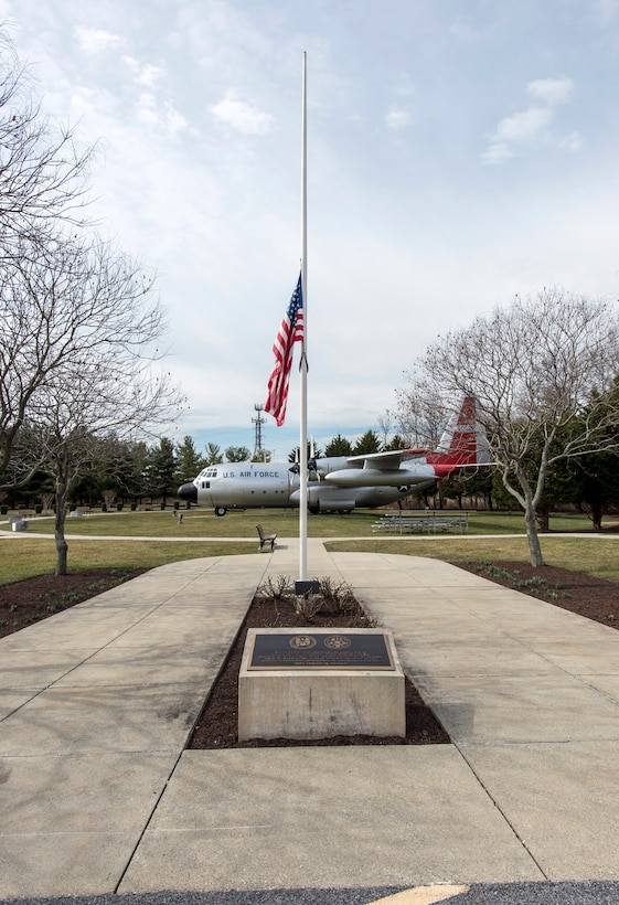 Flag flies at half-staff at National Vigilance Park in honor of former first lady Nancy Reagan
