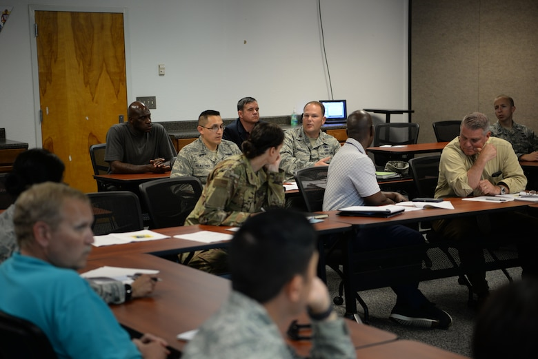 U.S Air Force Maj. Matthew Roberts, 81st Logistics Readiness Squadron commander, discusses changes being made to Keesler's hurricane plan during an emergency management working group inside the Sablich Center at Keesler Air Force Base, Mississippi, May 21, 2019. This emergency management working group was centered around Keesler's hurricane plan where base personnel discussed changes to the evacuation procedures, hurricane ride-out team sizes and more. (U.S Air Force Photo by Airman 1st Class Spencer Tobler)