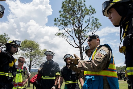 Firefighters from the 612th Air Base Squadron discuss the situation and plan to retrieve a simulated patient during a search and rescue exercise, May 21, 2019, in Comayagua, Honduras. Members from various units on Joint Task Force – Bravo participated in the exercise that simulated a HH-60 Blackhawk crashed during a routine flight carrying personnel. The exercise practiced notification, recall, search and rescue, on-scene medical care, recovery of personnel from low and high angle austere terrain, and medical care once the injured returned to base. (U.S. Air Force photo by Staff Sgt. Eric Summers Jr.)