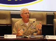 U.S. Navy Adm. Craig Faller responds to a question.