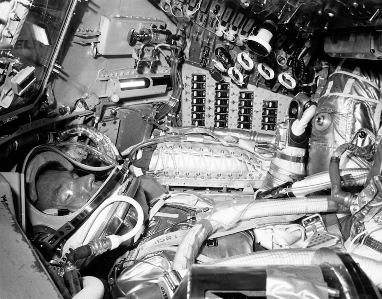 Gordon Cooper inside his Mercury spacecraft Faith 7. He had very little room to move, and his space suit served as a backup in case the vehicle lost pressure. (Contributed photo)