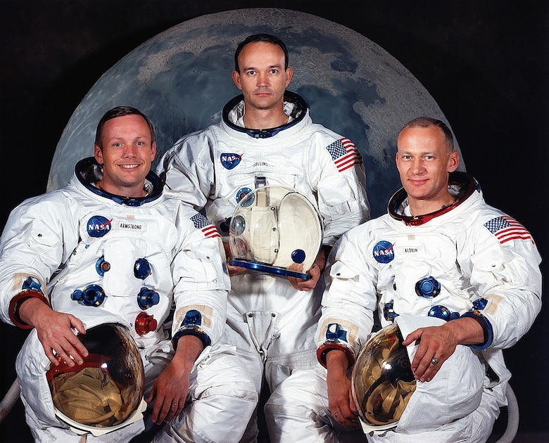 Apollo 11 Command Module Pilot and USAF Col. (later Maj. Gen.) Michael Collins (center) with Neil Armstrong (left) and USAF Col. Buzz Aldrin. (Contributed photo)