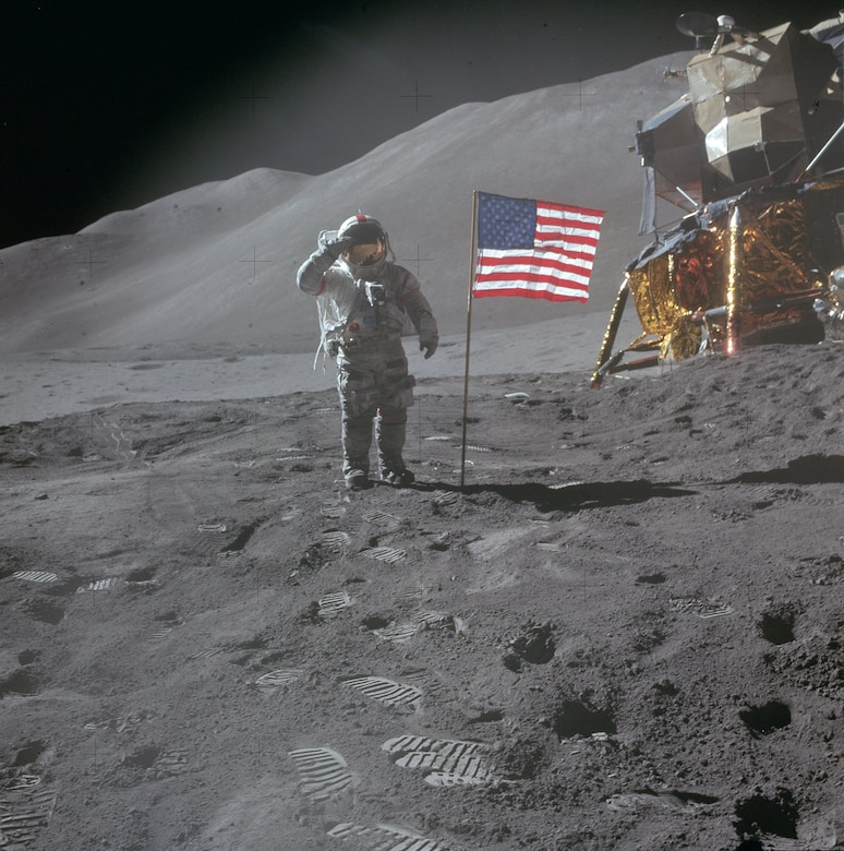 Apollo 15 commander USAF Col. David Scott salutes the US flag on the moon in 1971.(Contributed photo)