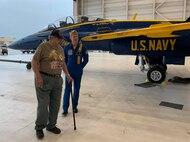 World War II veteran Robert Henley gets an up close view of Blue Angels #7 with pilot Lt. Cary Rickoff.