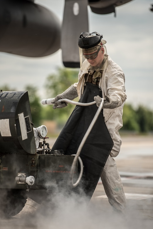 Senior Airman Sawyer Ezzell, a crew chief for the 123rd Maintenance Group, 123rd Airlift Wing, services the liquid oxygen system of a Kentucky Air National Guard C-130 Hercules aircraft at Aviano Air Base, Italy, on May 15, 2019, as part of Immediate Response 2019. The annual exercise is focused on allied airborne forces' ability to quickly and effectively respond to crisis situations as an interoperable, multi-national team. (U.S. Air National Guard photo by Staff Sgt. Joshua Horton), services the liquid oxygen system of a Kentucky Air National Guard C-130 Hercules aircraft at Aviano Air Base, Italy, on May 15, 2019, as part of Immediate Response 2019. The annual exercise is focused on allied airborne forces' ability to quickly and effectively respond to crisis situations as an interoperable, multinational team. (U.S. Air National Guard photo by Staff Sgt. Joshua Horton)