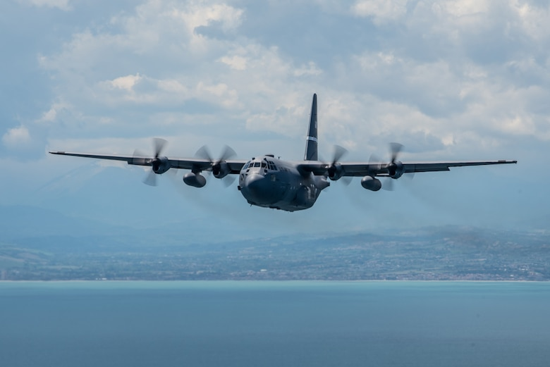A Kentucky Air National Guard C-130 Hercules aircraft conducts a nonstandard-load training flight in the airspace above Venice, Italy, May 20, 2019, while carrying equipment from U.S. Army Europe's 173rd Airborne Brigade Combat Team as part of Immediate Response 2019. The exercise is designed to improve readiness and interoperability among participating allied and partner nations integrated into a multinational battalion. Combined training enables allies and partners to readily respond more effectively to regional crises and meet their own national defense goals. (U.S. Air National Guard photo by Staff Sgt. Horton)
