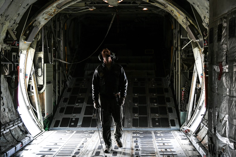 Master Sgt. Allen Clutter, a flight engineer attached to 514th Flight Test Squadron, performs a pre-flight functional flight check on a U.S. Navy C-130 Hercules April 11, 2019, at Hill Air Force Base, Utah. (U.S. Air Force photo by Cynthia Griggs)