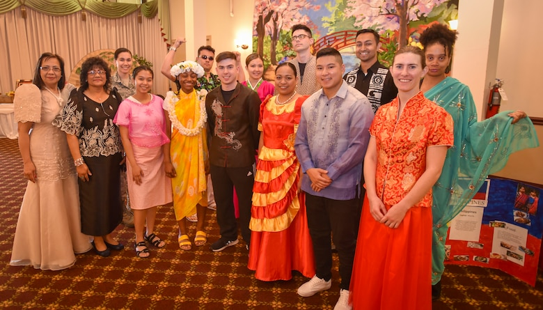 "Volunteers dress up for a cultural fashion show during the Asian American Pacific Islander Heritage Observance held May 20, 2019 at Joint Base McGuire-Dix-Lakehurst, New Jersey. The month of May is nationally recognized as AAPI Heritage month. This year's theme is ""Unite our Mission by engaging each other""."