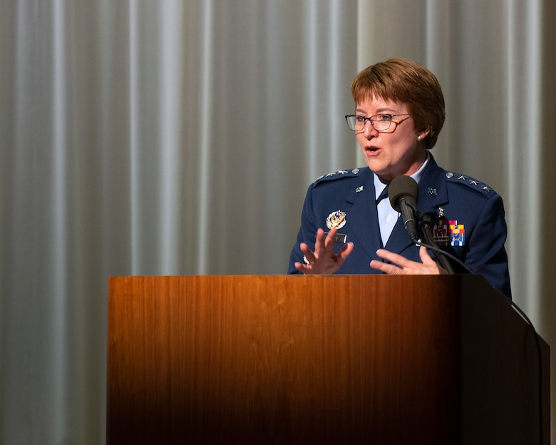 Lt. Gen. Dorothy A. Hogg, U.S. Air Force Surgeon General, delivers the graduation address during the 88th Medical Group's residency graduation ceremony May 23, 2019 on the National Museum of the U.S. Air Force. Hogg toured the Wright-Patterson Air Force Base, Ohio, medical center and visited with medical personnel prior to the ceremony. (U.S. Air Force photo by R.J. Oriez)