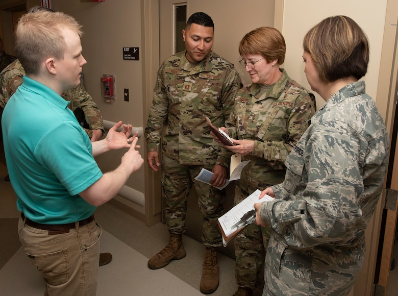 Johnny Cartwright, 88th Medical Center, simulations operator, shows Lt. Gen. Dorothy A. Hogg, U.S. Air Force Surgeon General a simulated unit of red blood cells used in the patient simulation lab at Wright-Patterson Air Force Base Medical Center, Ohio, May 23, 2019. Hogg toured various locations in the hospital, such as the emergency medicine department, diagnostic imaging, operating room, simulation center, and medical-surgical unit. (U.S. Air Force photo by Michelle Gigante)