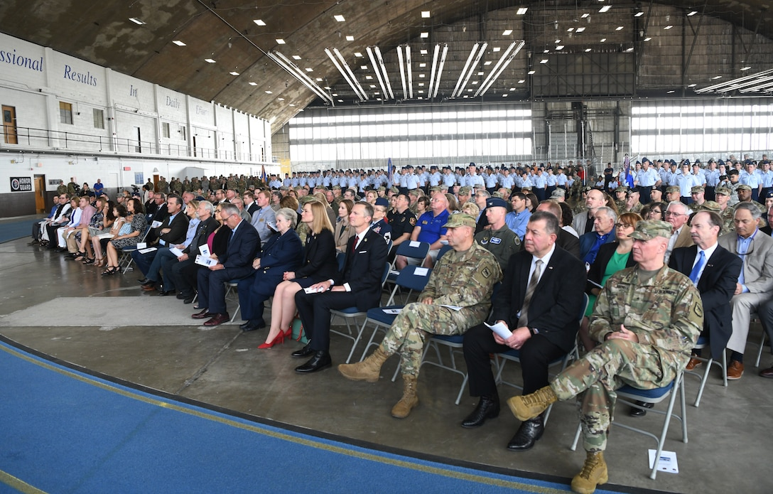 An audience of community leaders listen as Maj. Gen. James Dawkins Jr., the 8th Air Force commander, delivers a speech during a change of command ceremony at Ellsworth Air Force Base, S.D., May 30, 2019. The ceremony is a time-honored military tradition that serves as representation of the exchange of responsibility and authority from one commander to another. (U.S. Air Force photo by Senior Airman Thomas Karol)
