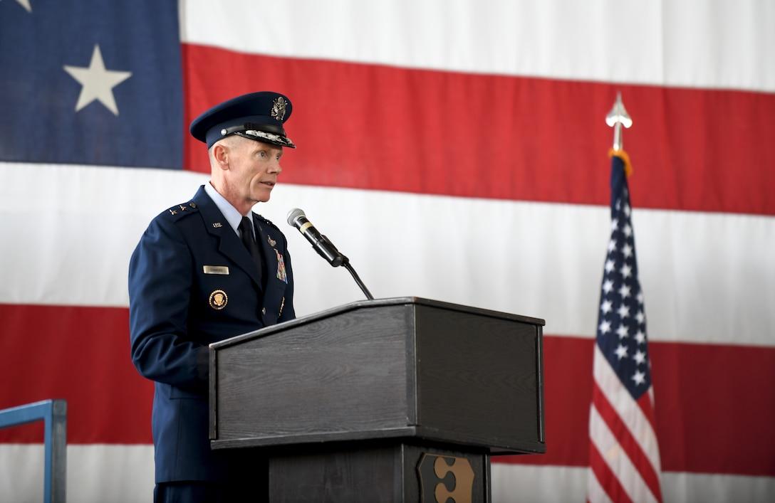 Maj. Gen. James Dawkins Jr., the 8th Air Force commander, delivers a speech during a change of command ceremony at Ellsworth Air Force Base, S.D., May 30, 2019. Dawkins officiated the exchange of command and welcomed Col. David A. Doss, the incoming commander of the 28th Bomb Wing. (U.S. Air Force photo by Airman 1st Class Christina Bennett)