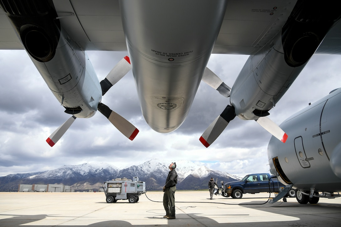 Master Sgt. Allen Clutter, a flight engineer attached to 514th Flight Test Squadron, inspects the propellers while performing a pre-flight functional flight check on a U.S. Navy C-130 Hercules April 11, 2019, at Hill Air Force Base, Utah. (U.S. Air Force photo by Cynthia Griggs)
