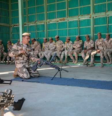 Iraqi instructors from the 2nd Non-Commission Officer School of Infantry train Iraqi army soldiers on the proper way to strip and assemble the M240B machine gun and the M249 light machine gun at Camp Taji, Iraq, Mar. 19, 2019. The soldiers are under the supervision of Australian army trainers from Task Group Taji 8, which is a combined Australian-New Zealand Task Group that provides the Iraqi Security Forces with training to enable the stabilization of areas cleared of Daesh. The Coalition advises and assists the Iraqi Security forces in seven key security functions: security policy, security operations, training, sustainment, intelligence, counterterrorism and aviation. The Iraqi Army School of Infantry NCO 2 recently achieved initial operating capability, meaning that the school can perform 75 percent of its operations without Coalition assistance.