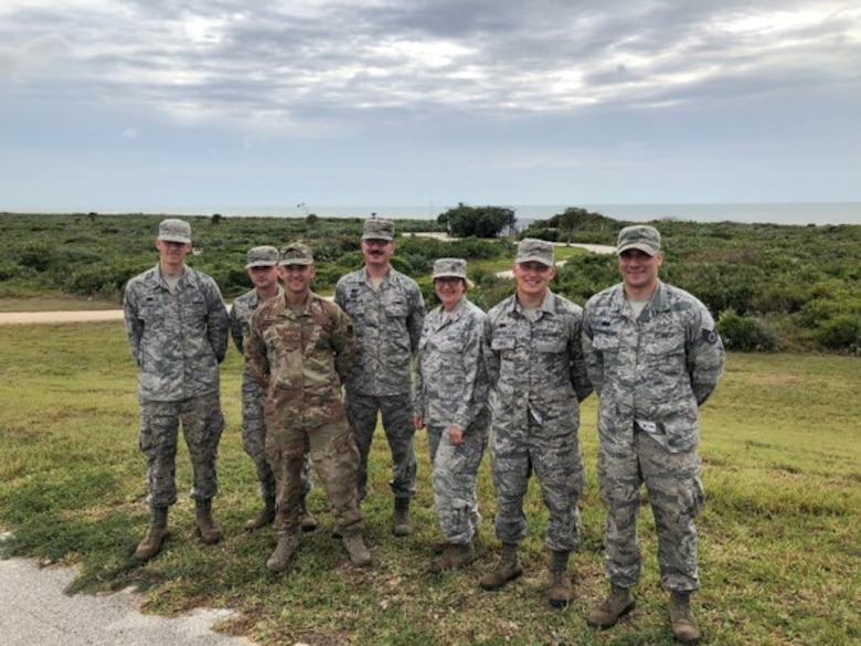 Minnesota Air National Guard Airmen from the 133rd Airlift Wing, 210th Engineering Installation Squadron represent one of the teams working with the 45th Space Communications Squadron during an cable installation project on 21 Feb, 2019 at Patrick Air Force Base, Fla. (Courtesy photo)