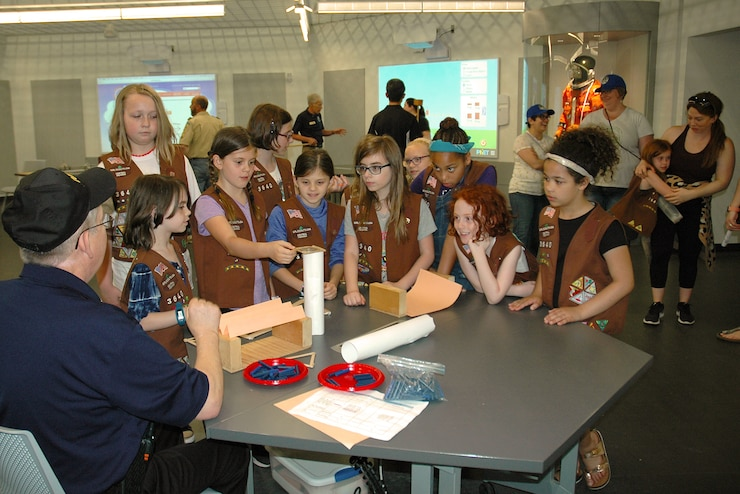 A group of Girl Scouts participating in one of the museum's education programs