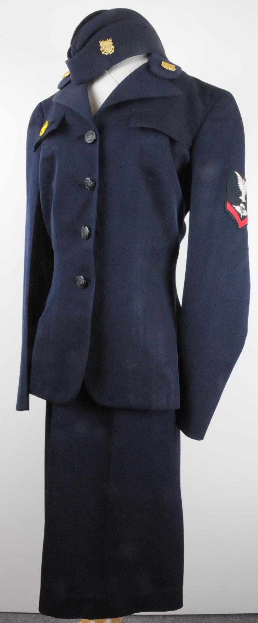 The SPAR uniform of Dolores (Denfeld) Schubilske.  She was a Parachute Rigger, Third Class.  Uniform is now part of the Coast Guard's Artifact collection.