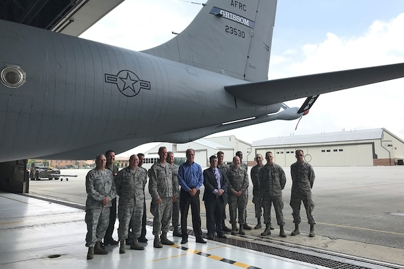 Senator Mike Braun (R) Indiana, center, stands with members of the 434th Air Refueling Wing during a visit to Grissom Air Reserve Base, Ind., May 28, 2019. The visit was the first for the first-term senator, and was designed to give him a personal view of the base and its mission. (U.S. Air Force photo/Douglas Hays)