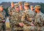 Sgt. Maj. of the Army Daniel A. Dailey (center) greets Fort Leonardwood-based Soldiers during an installation visit Nov. 1-2, 2018.