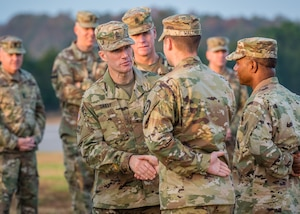Sgt. Maj. of the Army Daniel A. Dailey (center) greets Fort Leonard Wood-based Soldiers during an installation visit Nov. 1-2, 2018.