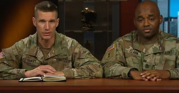 Sgt. Maj. of the Army Daniel Dailey and Sgt. Maj. Mark Clark of the G-1 Directorate of Military Personnel Management, take part in a Facebook Live session May 29 to explain the new Enlisted Centralized Promotion Board process and answer  questions from Soldiers.