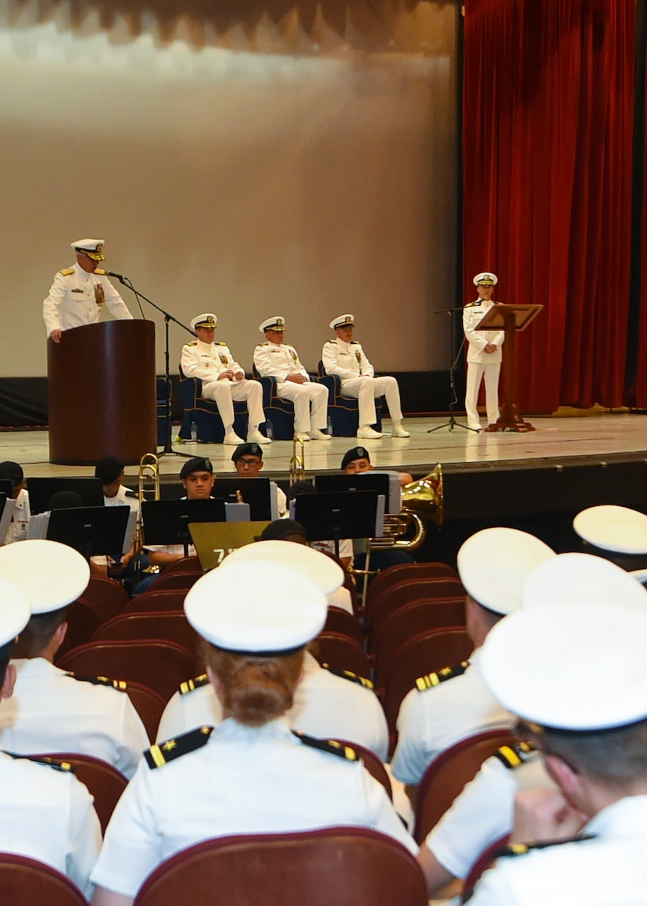 (May 30, 2019) SANTA RITA, Guam – Rear Adm. Karl Thomas, Commander, Task Force (CTF) 70, gives open remarks during the USS Antietam change of command ceremony at the big screen theater at U.S. Naval Base Guam. Capt. Todd Gorman relieved Capt. George A. Kessler as the ship's Commanding Officer of the Ticonderoga-class guided missile cruiser. Antietam is forward deployed to the U.S. 7th Fleet area of operation in support of security and stability in the Indo-Pacific region.