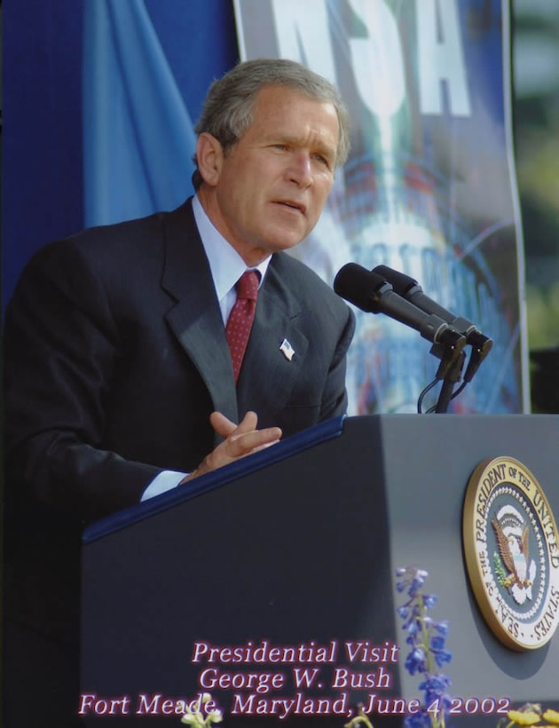 President George W. Bush delivers speech during his visit to National Security Agency