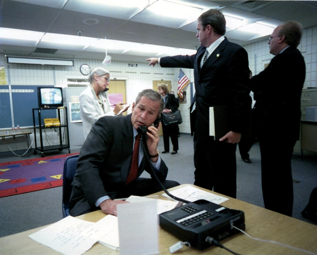 President Bush using secure communication device, reacting to the World Trade Center bombing