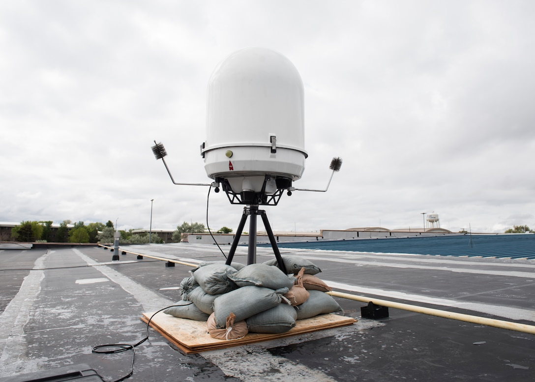 A Portable Doppler Radar provides weather surveillance May 25, 2019, at Mountain Home Air Force Base, Idaho. The is the first time the Doppler system has been installed on a Continental United States base. (U.S. Air Force photo by Senior Airman Tyrell Hall)