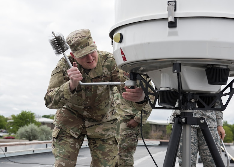 Tech. Sgt. Brandon Knight, 366th Operations Support Squadron weather forecaster, assembles a Portable Doppler Radar May 25, 2019, at Mountain Home Air Force Base, Idaho. The is the first time the Doppler system has been installed on a Continental United States base. (U.S. Air Force photo by Senior Airman Tyrell Hall)