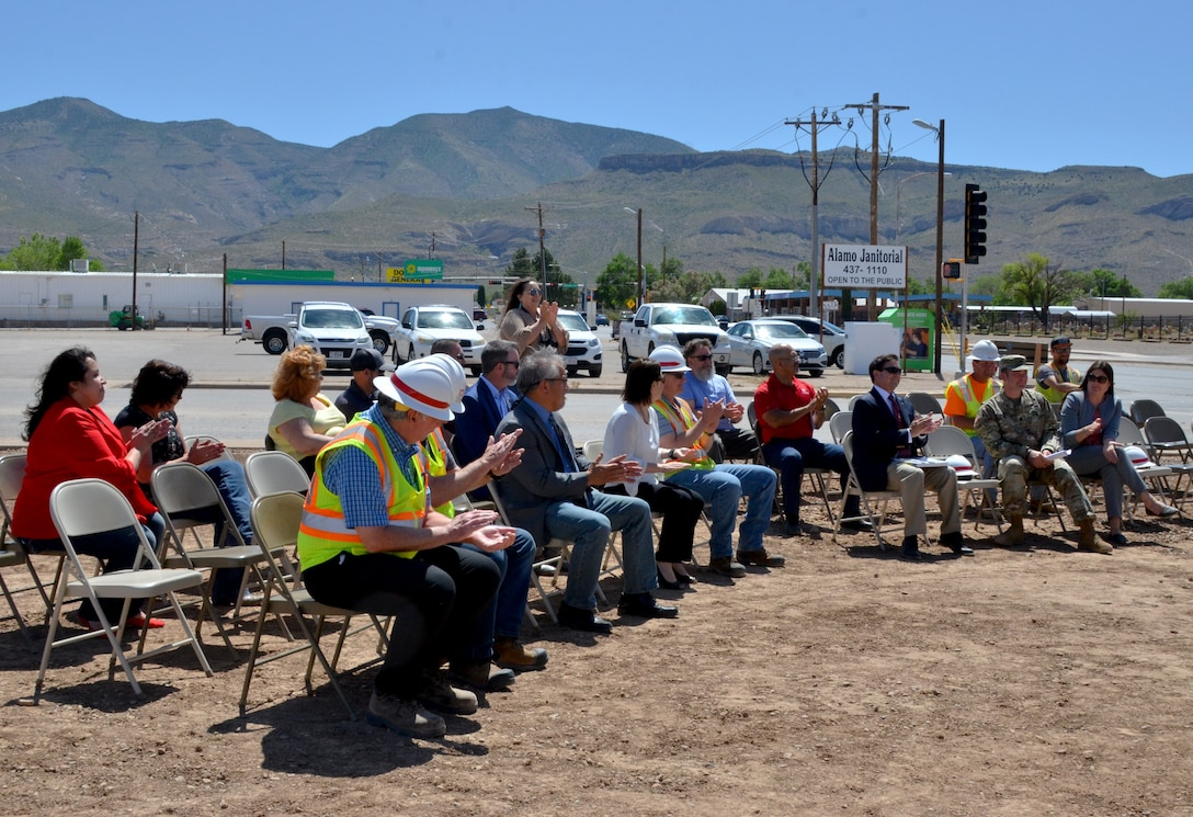 ALAMOGORDO, N.M. – The audience applauds during the McKinley Channel Flood Control Project ground-breaking ceremony, May 17, 2019.
