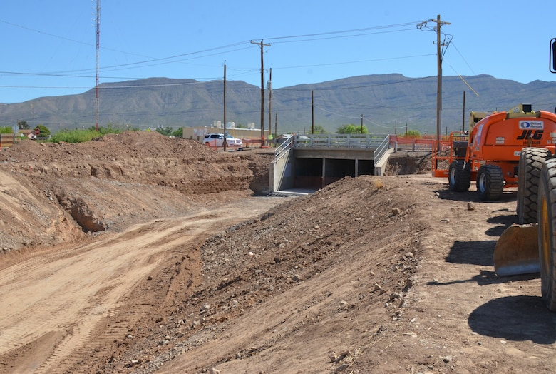 ALAMOGORDO, N.M. – A portion of the McKinley Channel Flood Control Project currently under construction, May 17, 2019.