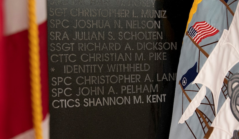Photo of CTICS Shannon M. Kent's name on the National Cryptologic Memorial Wall
