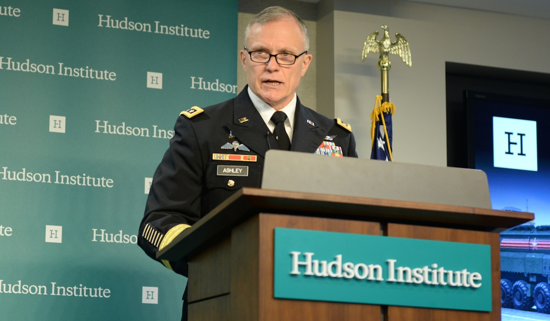 Defense Intelligence Agency Director Lt. Gen. Robert P. Ashley Jr. delivers keynote remarks at The Arms Control Landscape event hosted by the Hudson Institute, May 29. (Photo courtesy of the Hudson Institute)
